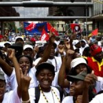 Der «March of Peace», die große Abschlussdemonstration der Weltfestspiele 2010