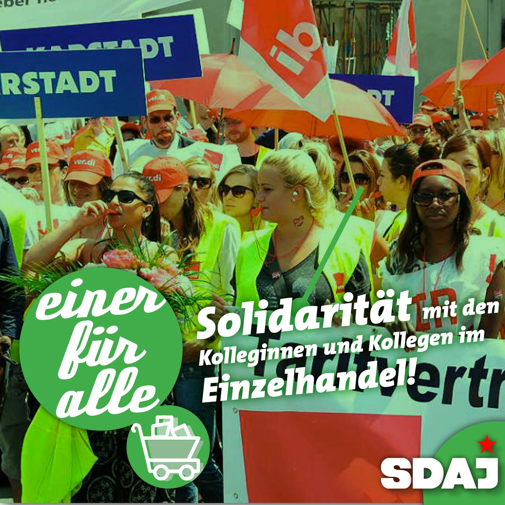 Einer für alle! Solidarität mit den Kolleginnen und Kollegen im Einzelhandel!