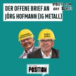 Jörg Hofmann ist Bundesvorsitzender der Industriegewerkschaft Metall und Mitglied der SPD. Chris ist in der SDAJ und der IG-Metall-Jugend Nürnberg aktiv. Er arbeitet in einem Autohaus im Teiledienst