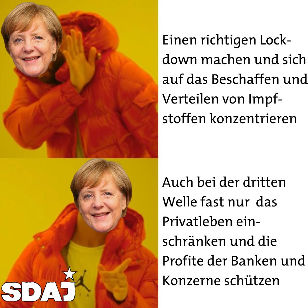 Merkel bittet um Verzeihung für die Eingriffe in die Profite der Konzerne